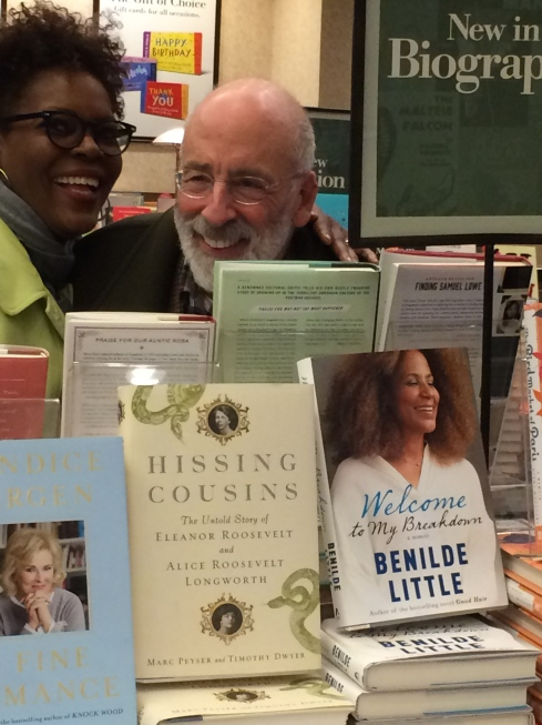 My ride or die, Eleanore Wells and art insider Harris Schrank happy with me at Barnes and Noble, Manhattan